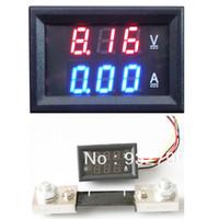 Wholesale 2 IN mini Digital A V Amp Volt Meter ammeter VoltMeter tester w shunt A resolution A V Operate Temp to order lt no