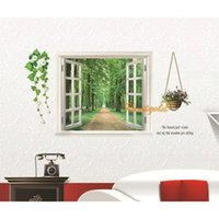 baby roads - Baby Kids Room Vivid Window Road Green Trees Flowers Home Decor Wall Sticker Poster Decoration