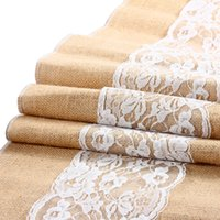 Wholesale Vintage Burlap Lace Hessian Table Runner Natural Jute Country Party Wedding adornment decoration for