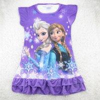 Em armazém 2014 Venda quente meninas Vestidos Verão congelado Princesa padrões crianças camisola dos desenhos animados 100% dos miúdos algodão pijama vestido sleepwear