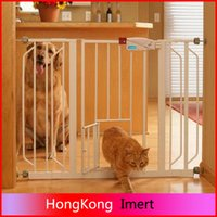 iron fence - 2016 NEW Extra Wide Walk Thru Gate Fence with Pet Dog Cat Door White Electronic fence good for kids safe