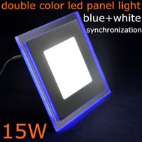 acrylic glass panels - DHL double color blue white warm white synchronous Acrylic glass led panel light W W W square round AC85 V for kitchen