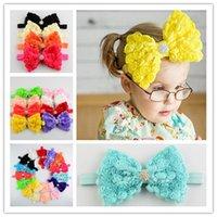 band rows - Hot chiffon rose hair bow hair bands row flower trade new baby headband headdress