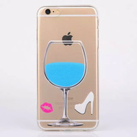 silicone shoes - Cup Wine Glass Lip Kiss Soft TPU Clear Case For Iphone G S Plus Fashion Transparent Silicone High heeled Shoes Back Cover