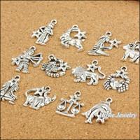 al por mayor colgantes piscis-Encantos de la joyería de moda 120 PC encantos de la vendimia de plata zodiacal Piscis antiguo pendiente de la joyería que hacía pulseras DIY del metal del collar