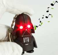 Wholesale 2015 child shorts pendant Key chain chain key ring Wedding Keychain cartoon Star Wars LED shine light music key Couple keychain YCK26