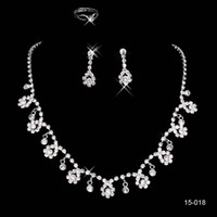 crystal ring jewelry - 2015 Bridal Jewelry Wedding Bridal Crystal Rhinestone Accessories Necklace and Earring Ear Clip type Ring Sets Silver Plated In Stock B
