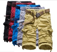 beach cargo pants - Hot Selling Capri pants candy color Knee Length Beach Shorts Men Summer Cargo Shorts For Men No Belt