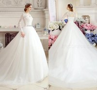 Wholesale Modest Vintage Long Sleeve Wedding Dresses Country V Neck Custom Made Chinese Illusion Tulle Applique Lace Bridal Dresses Ball Gowns