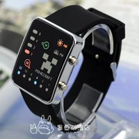 Wholesale New Arrival Minecraft Fashion LED Watches LED Touch Srceen Wristwatches plastic watch strap Led Night Light Wristwatch White Black color
