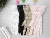 Cheap Hot! Women Wedding Bridal Lace Gloves Accessories Bride Tulle Flowers Hollow Short Ruffles Glove Car Drive Sun Protection Hand Wear H2800