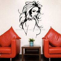 Cheap Sexy naked women vinyl wall decor stickers decals murals for bathroom bar hotel ktv Hair Spa Salon large size free shipping