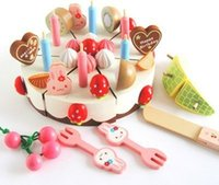 Wholesale Children s wooden strawberry birthday cake playing house food toy honestly look Pretend Play