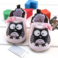Wholesale 2015 spring and summer cute light pink baby girls lovely owl shoes bow slip on frist walker cotton prewalker shoes