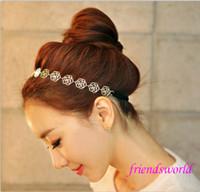 Wholesale 2015 hot Womens Fashion Metal Chain Jewelry Hollow Rose Flower Elastic Hair Band Headband Jewelry Headwear