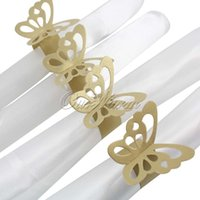 Wholesale 50pcs of Metallic Butterfly Paper Napkin Ring Wrap Weddings Party Home Decoration Table Decoration