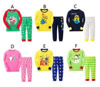 new design pants - Free DHL Design Christmas Xmas Boy girl despicable me minions Santa Claus Pajamas new Cotton cartoon long Sleeve Pants Suit B001