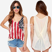 Wholesale Hot Sale Women American Flag T Shirt Chiffon Sleeveless Blouse Shirt Splicing Vest Tank Tops Cheap Clothing SV004478