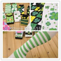 argyle socks green - Cheapest Price Baby ST Patricks Day Leg Warmers Argyle Clover Leg Warmer Green White Striped leg warmers Girls Boys Lucky clover socks