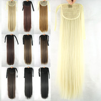 Wholesale 1PC inch g Long Straight Synthetic Fake Hair Drawstring Ponytails Extensions black brown blonde
