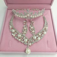 Wholesale Trendy Wedding Jewelry Sets Accessories Piece Set Bride Accessories Necklace Earrings Pearl Wedding Accessories