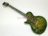 Precio de Guitarra de la mano izquierda verde-El verde de encargo al por mayor de la mano izquierda hizo estallar el dedo de la flor de la guitarra del jazz de 3 pastillas caliente