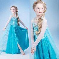 Cheap New 2015 Frozen Elsa dress Girl Princess Dress Summer frozen cosplay long dress Elsa Costume,baby kids dresses Drop shipping