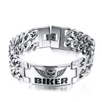 Wholesale 316l stainless steel BIKER Bracelets Hot selling models skull pattern mens bracelet
