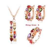 Wholesale LZESHINE New Top K Rose Gold Plate Flower Jewelry Set Multicolor Cubic Zircon Pendant Earrings Ring Women Wedding Jewelry Sets