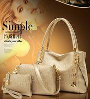 Wholesale 3pcs Set New PU Leather Vintage Women Handbag Set Fashion Trendy Tote Shoulder Bags Cross body Messenger Bags Bolsas Gold Fox bag