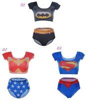 batman swimsuit - 2015 New Avengers superhero series superman batman Sexy Bikini Two Piece Bikini High Waist Bathing Suits For Women Swimsuit