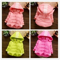 Wholesale Baby Girls Outwear Winter Coat with Wings Youth Warm Coat Outfit Cotton padded Jacket Coat Zipper Hooded Plain Overcoat Colors