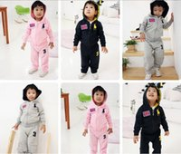 Wholesale 2015 spring autumn Two piece fashion children girl boy baby clothes Zipper coat pants Pure cotton suit sportswear