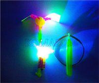Wholesale 10pcs LED Helicopter Umbrella LED amazing arrow flying Kids Toys Space UFO LED Light Toys Christmas Halloween Flash Toys