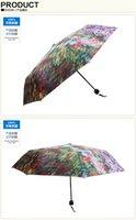 beach umbrella art - New romantic secret garden oil painting Art Three folding umbralla Sunny and Rainy Umbrella portable sun beach umbrella