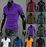 summer polo shirts - 2015 Summer Short Sleeve Men t shirts Hot Fashion Men tops tee Cotton slim embroidery Men s Casual t shirt Colors PL
