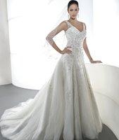 Wholesale New Fashion A Line Wedding Dress V Neck Floor Length Sleeveless Chapel Train Plenty of Delicate Crystal Chiffon with Stain