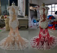 Wholesale 2016 Lace Mermaid See Through Wedding Dresses Crew Beaded Tulle Wedding Gowns Sexy Charming Bridal Dresses
