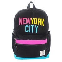 Backpack Style backpack new york - Contrast Color New York City Casual Zippers Backpack Student School Shoulder Bag