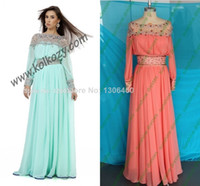 Cheap Prom Party Gown Melon Red Dubai Kaftan Abaya Real Sample 2014 New Fancy Lebbas Caftans Dresses Evening Gown Vestidos De Festa Long Sleeve