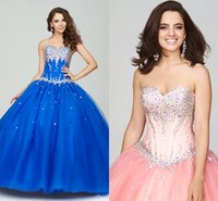 Cheap 2015 Plus Size Quinceanera Dress Sweetheart Strapless Crystal Beaded Tulle Royal Blue Pink Full Length Corset Backless Ball Gown Prom Dress