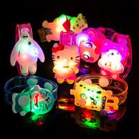 Wholesale 2016 Cartoon LED flash Wrist bracelet light Halloween Luminous hand ring children toys Christmas gift toys for kids