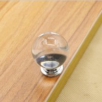 ball door knobs - 30mm transparent crystal ball shape single door knob handle pull for cabinet drawer furniture accessory