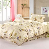 bear comforter set - Cute cartoon bear cotton twin comforter bedding sets or pieces with duvet quilt cover flat sheet pillowcase bed linens for children kids