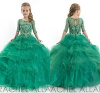 beauty pageant dresses - RACHEL ALLAN New Arrival Crystal Bead Children Wedding Dress For Girls Half Sleeves Tiered Beauty Pageants Gowns Little Girl s Pageant Gowns