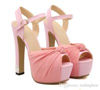 Wholesale Chiffon knot rhinestones pink wedding shoes high heels sandals bridal dance shoes Colors SIZE to