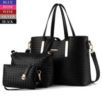 Wholesale Women Handbag Pieces in a Woven Design Purse Leatherette Shoulder Handbags Clutches Bags