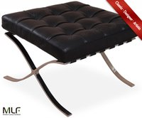 barcelona cushion - MLF Barcelona Chair Ottoman Aniline Leather High Density Foam Cushions Polished Stainless Steel Frame Riveted with Cowhide Saddle Straps
