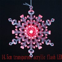 bamboo decorating - 14 cm transparent acrylic flashing LED Christmas snowflake hangings used to decorate the christmas tree Party Christmas Supply