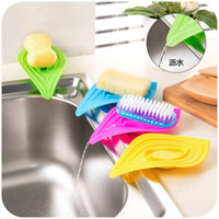 Wholesale slip ring leaves soap box multifunctional drain and clean soap dishes kitchen sink sponge holder stand